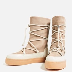 ZARA SPLIT SUEDE LACE UP WINTER BOOTS - BRAND NEW